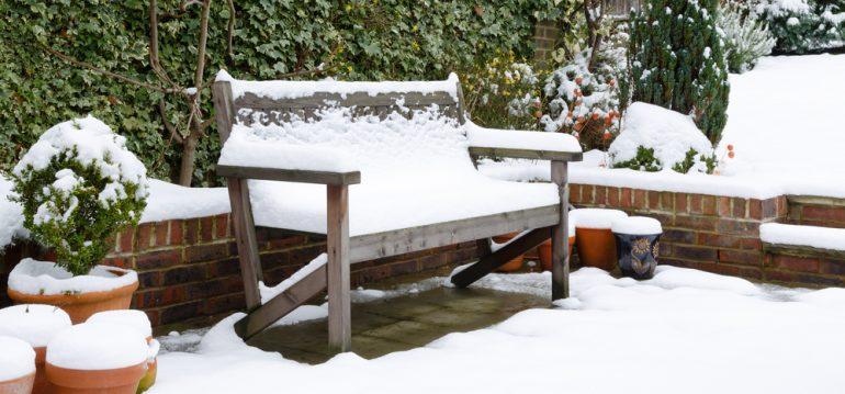 Garten im Winter - Gartenbank - Franks kleiner Garten
