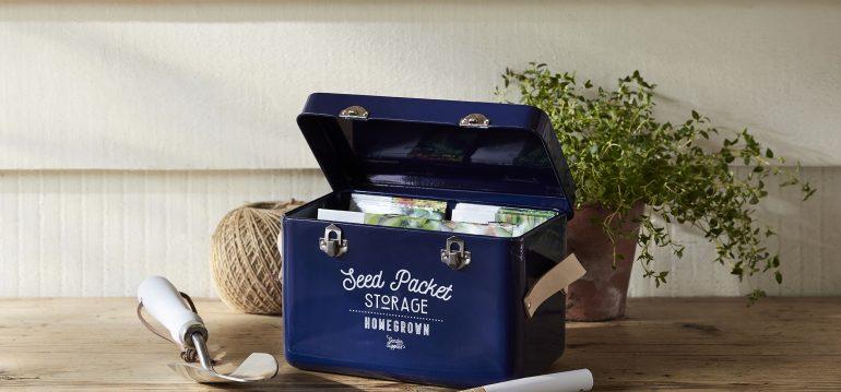 Saatgutbox – Atlanticblue - Ledergriffe -lifestyle - Burgon & Ball - Franks kleiner Garten