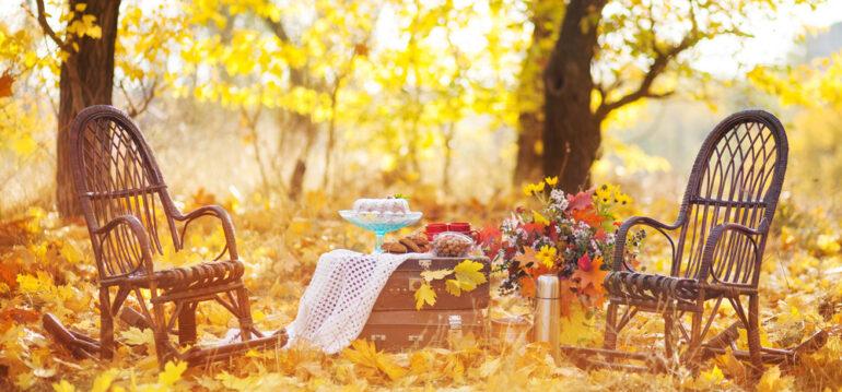 Herbst - Herbstlaub - Oktober - Garten - Schaukelstühle - Gartenmöbel - Franks kleiner Garten
